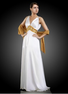 A-Line/Princess V-neck Sweep Train Charmeuse Mother of the Bride Dress With Sash Beading