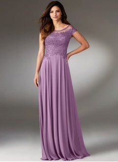 Sheath/Column Scoop Neck Floor-Length Chiffon Mother of the Bride Dress With Beading Appliques Lace