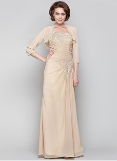 Sheath/Column One-Shoulder Floor-Length Chiffon Mother of the Bride Dress With Ruffle Appliques Lace