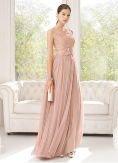 A-Line/Princess Scoop Neck Floor-Length Tulle Charmeuse Evening Dress With Ruffle Lace Beading Flower(s) (0175061360)