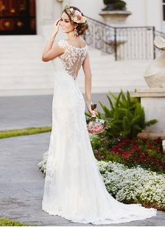 Trumpet/Mermaid Scoop Neck Sweep Train Satin Tulle Wedding Dress With Appliques Lace (0025098276)