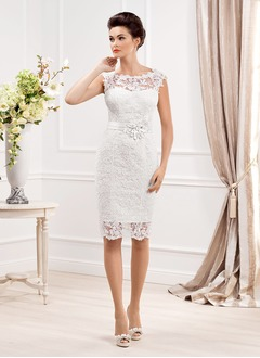 Sheath/Column Scoop Neck Knee-Length Lace Wedding Dress With Beading