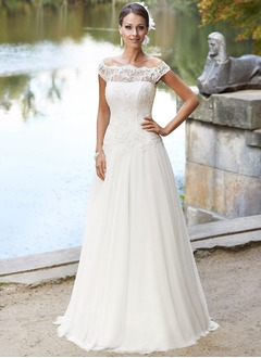 A-Line/Princess Off-the-Shoulder Sweep Train Chiffon Wedding Dress With Lace