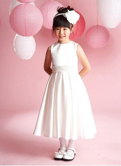 A-Line/Princess Scoop Neck Ankle-Length Satin Flower Girl Dress With Beading (01005009245)