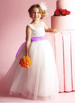 A-Line/Princess Strapless Floor-Length Satin Tulle Flower Girl Dress With Lace Sash