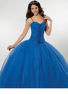 Ball-Gown Sweetheart Floor-Length Satin Tulle Quinceanera Dress With Ruffle Beading