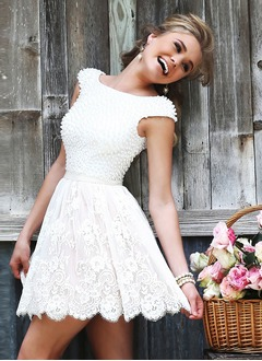 A-Line/Princess Scoop Neck Short/Mini Lace Wedding Dress With Beading