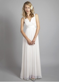 A-Line/Princess V-neck Floor-Length 30D Chiffon Wedding Dress With Ruffle