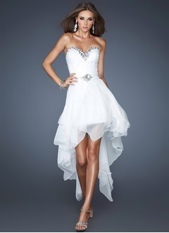 A-Line/Princess Strapless Sweetheart Detachable Chiffon Homecoming Dress With Beading
