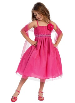 A-Line/Princess Strapless Tea-Length Taffeta Tulle Flower Girl Dress With Ruffle