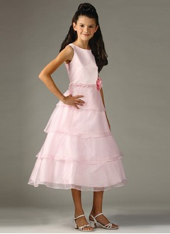 A-Line/Princess Scoop Neck Tea-Length Organza Satin Flower Girl Dress With Beading