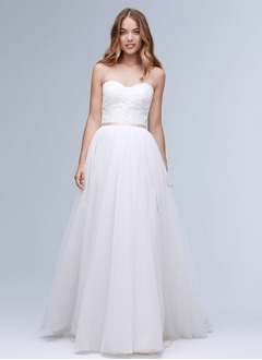 Ball-Gown Strapless Sweetheart Sweep Train Tulle Wedding Dress With Sash Appliques Lace
