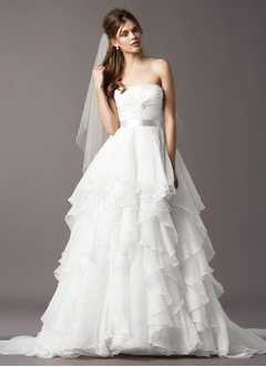 A-Line/Princess Strapless Sweep Train Organza Wedding Dress With Ruffle Sash Cascading Ruffles
