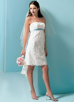 Empire Knee-Length Satin Lace Wedding Dress With Sash Beading Bow(s)