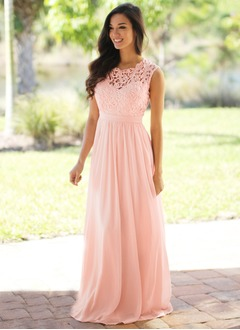 Empire Scoop Neck Sweep Train Chiffon Evening Dress With Lace