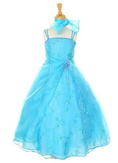 A-Line/Princess Ankle-Length Organza Satin Flower Girl Dress With Embroidered Flower(s) Sequins