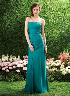 Trumpet/Mermaid Strapless Floor-Length Chiffon Bridesmaid Dress With Ruffle