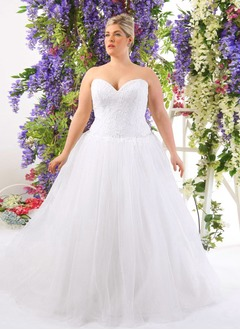 Ball-Gown Strapless Sweetheart Court Train Tulle Lace Wedding Dress With Beading