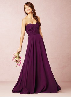 A-Line/Princess Strapless Sweetheart Sweep Train Chiffon Bridesmaid Dress With Ruffle
