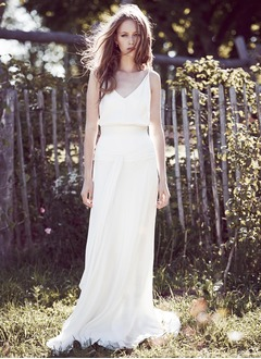 A-Line/Princess V-neck Chapel Train Chiffon Wedding Dress