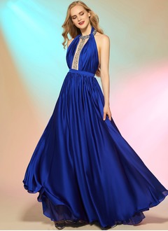 A-Line/Princess Halter Floor-Length Satin Chiffon Evening Dress With Beading