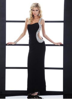 Sheath/Column One-Shoulder Floor-Length Chiffon Evening Dress With Beading