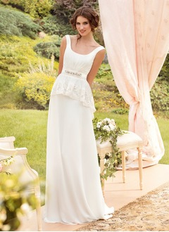 A-Line/Princess Scoop Neck Sweep Train Chiffon Wedding Dress With Ruffle Lace Beading