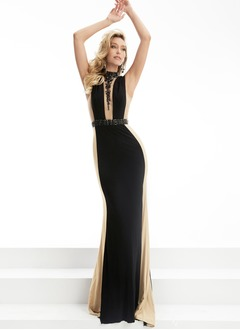 Sheath/Column High Neck Sweep Train Charmeuse Prom Dress
