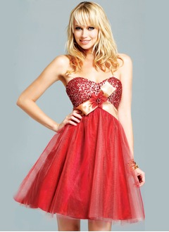 A-Line/Princess Strapless Sweetheart Short/Mini Taffeta Tulle Sequined Homecoming Dress With Sash Beading Flower(s)