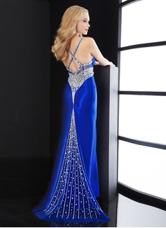 Sheath/Column Sweetheart Sweep Train Charmeuse Evening Dress With Beading Sequins