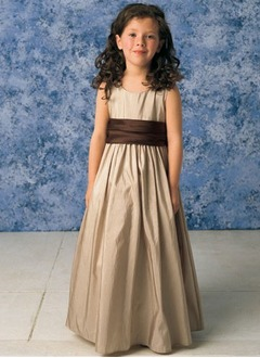 A-Line/Princess Scoop Neck Floor-Length Taffeta Flower Girl Dress With Sash