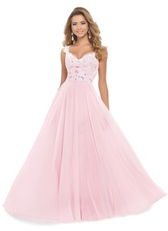 A-Line/Princess V-neck Floor-Length Chiffon Prom Dress With  ...