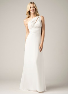 Sheath/Column One-Shoulder Floor-Length Chiffon Bridesmaid  ...