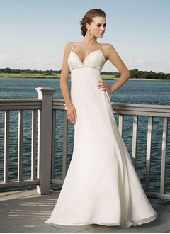Empire V-neck Sweep Train Chiffon Wedding Dress With Beading