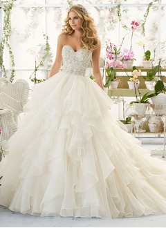Ball-Gown Strapless Sweetheart Court Train Organza Wedding  ...