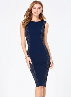 Sheath/Column Scoop Neck Knee-Length Charmeuse Cocktail Dress With Lace