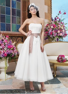 A-Line/Princess Strapless Ankle-Length Organza Wedding Dress With Lace Sash Bow(s)