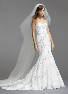 Trumpet/Mermaid Strapless Sweetheart Court Train Lace Wedding Dress With Beading