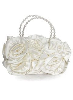 Bright Silk With Flower/Imitation Pearl Clutches/Wristlets