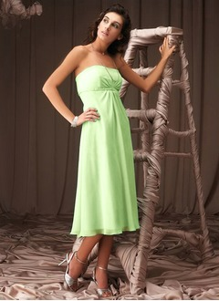 Empire Strapless Tea-Length Chiffon Bridesmaid Dress With Ruffle Beading Sequins