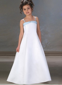 A-Line/Princess Strapless Floor-Length Satin Flower Girl Dress With Sash Beading