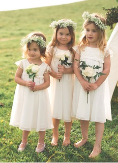 Empire Scoop Neck Tea-Length Chiffon Flower Girl Dress With Lace Bow(s)