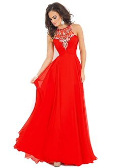 A-Line/Princess Scoop Neck Sweep Train Chiffon Prom Dress With Ruffle Beading