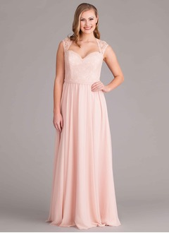 A-Line/Princess Sweetheart Floor-Length Chiffon Bridesmaid Dress With Lace