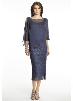 Sheath/Column Scoop Neck Tea-Length Chiffon Lace Mother of the Bride Dress