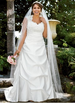 A-Line/Princess Sweetheart Sweep Train Satin Wedding Dress With Lace Beading