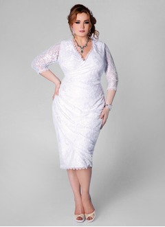 Sheath/Column V-neck Tea-Length Lace Wedding Dress