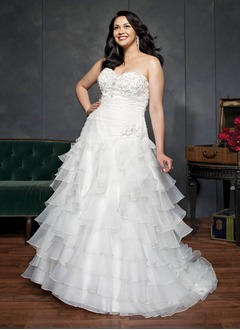 A-Line/Princess Strapless Sweetheart Court Train Organza Wedding Dress With Ruffle Beading Cascading Ruffles