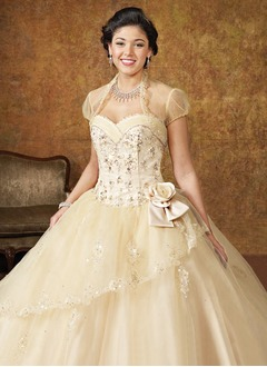 Ball-Gown Strapless Sweetheart Floor-Length Tulle Quinceanera Dress With Ruffle Beading Flower(s)