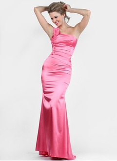 Trumpet/Mermaid One-Shoulder Sweep Train Charmeuse Evening Dress With Ruffle